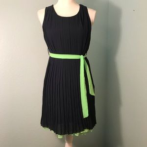 Paper Doll Navy Pleated Dress w/Lime Green Trim